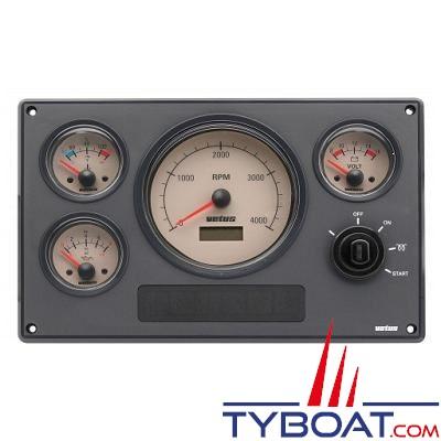 VETUS - Tableau de bord moteur synthétique type MP34 12 Volts 4 instruments beige (0-5000 rpm)
