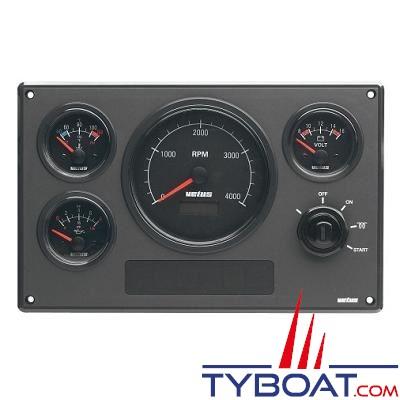 VETUS - Tableau de bord moteur synthétique type MP34 12 Volts 4 instruments noir (0-5000 rpm)