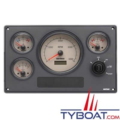 VETUS - Tableau de bord moteur synthétique type MPA34 12V, 4 instruments beige (0-4000 rpm)