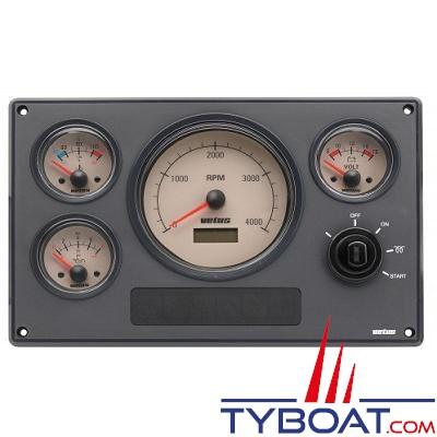 VETUS - Tableau de bord moteur synthétique type MP34 24 Volts 4 instruments blanc (0-4000 rpm)