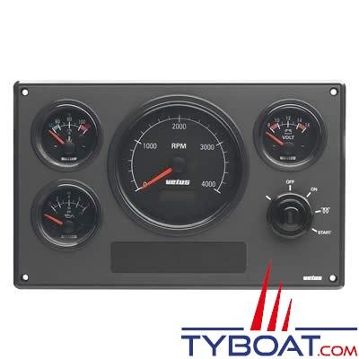 VETUS - Tableau de bord moteur synthétique type MPA34 24V, 4 instruments noir (0-4000 rpm)