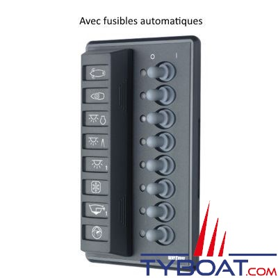 vetus tableau lectrique type p8f 12 24 volts pour 8 fusible fusibles automatiques 16. Black Bedroom Furniture Sets. Home Design Ideas