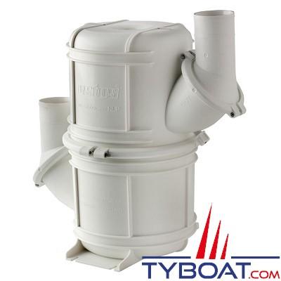VETUS - Waterlock HEAVY DUTY synthétique blanc  type NLP50 S (10 litres) Ø50 mm avec entrée et sortie orientables pour tuyau 50 mm