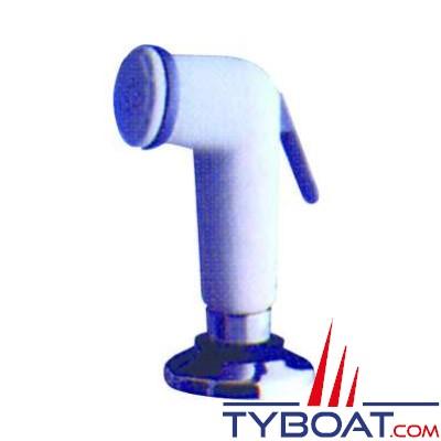 Douchette plastique avec support et tuyau 3 Mètres - Blanc
