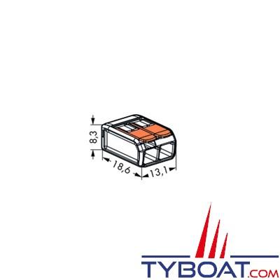 WAGO - Bornes de connexion à languette - 2 entrées pour fils souples et rigides 0.8 à 4 mm2 - 5 unités
