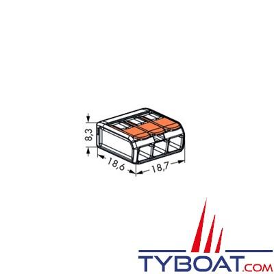 WAGO - Bornes de connexion à languette - 3 entrées pour fils souples et rigides 0.8 à 4 mm2 - 5 unités
