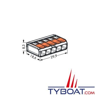 WAGO - Bornes de connexion à languette - 5 entrées pour fils souples et rigides 0.8 à 4 mm2 - 5 unités