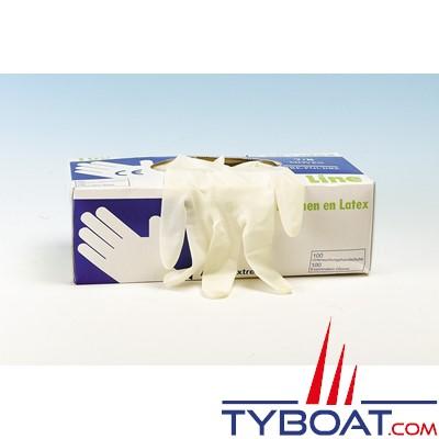 Gants latex jetables (boîte de 100) taille 7/8 - M