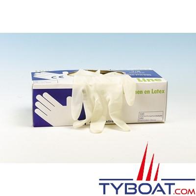 Gants latex jetables (boîte de 100) taille 9/10 - XL
