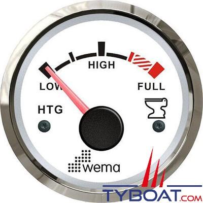 WEMA - Indicateur de niveau d'eaux usées cadran blanc - Enjoliveur inox - 240-30 Ohms - 12/24 volts