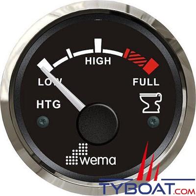 WEMA - Indicateur de niveau d'eaux usées cadran noir - Enjoliveur inox - 240-30 Ohms - 12/24 volts