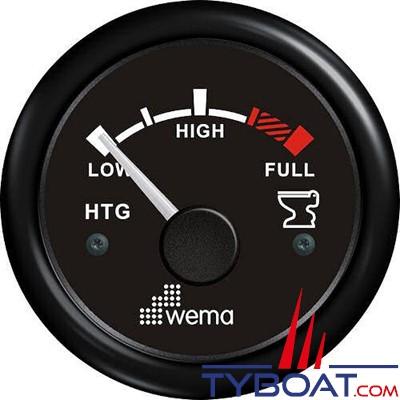 WEMA - Indicateur de niveau d'eaux usées cadran noir - Enjoliveur noir - 240-30 Ohms - 12/24 volts