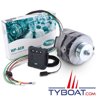 Whisper Power - Système alternateur WP-DC Beltpower + régulateur ACR + poulie - 12 volts 90 Ampères