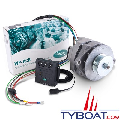 Whisper Power - Système alternateur WP-DC Beltpower + régulateur ACR + poulie - 12 volts 130 Ampères