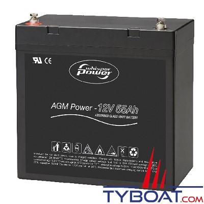 WhisperPower - Batterie AGM - 12 Volts 55 Ampères