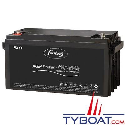 WhisperPower - Batterie AGM - 12 volts  80 Ampères