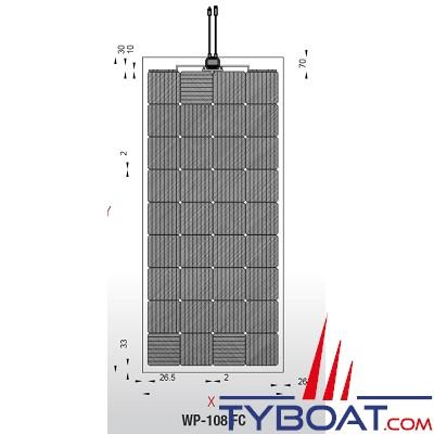 WhisperPower - Panneau solaire monocristallin Solar Flex 108 FC - 110,9 x 54,6cm
