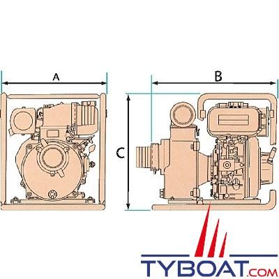 YANMAR - Motopompe Diesel 51m3/heure - Pompe centrifuge auto-amorçante - 850 litres minute